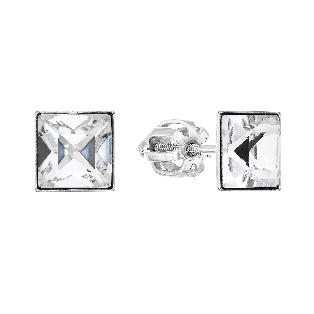 Stříbrné náušnice pecka s krystaly Swarovski bílá kostička 71074.1