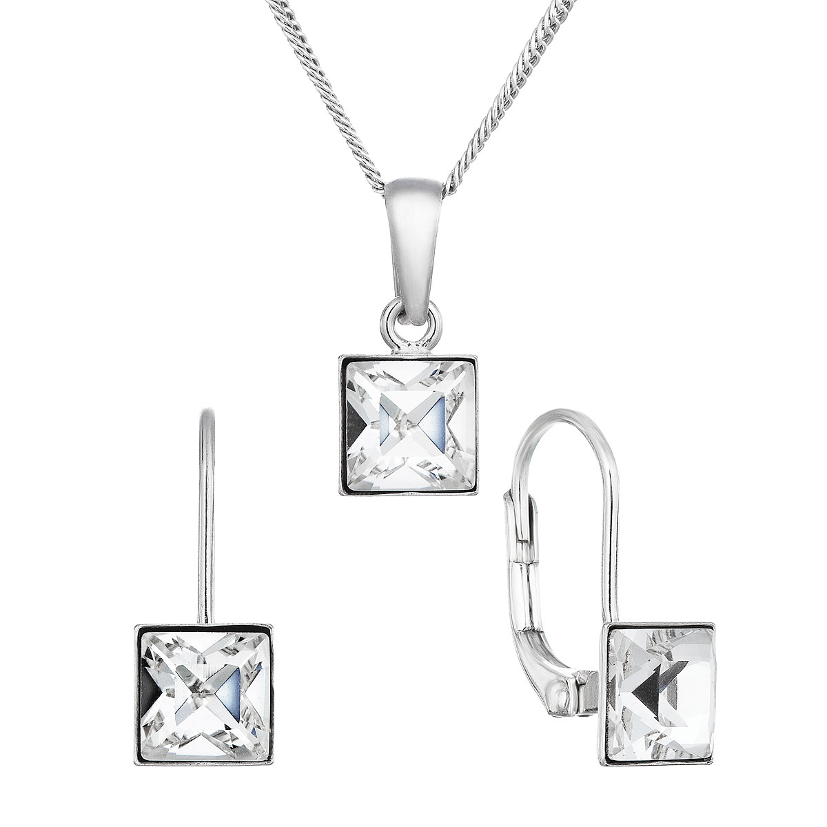 Sada šperků s krystaly Swarovski náušnice,řetízek a přívěsek bílá kostička 79037.1