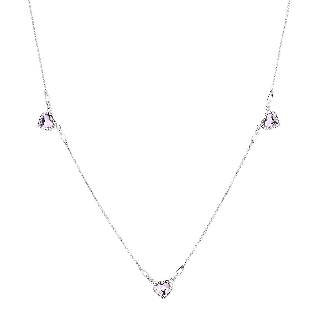 Stříbrný náhrdelník s krystaly Swarovski růžové srdce 72060.3