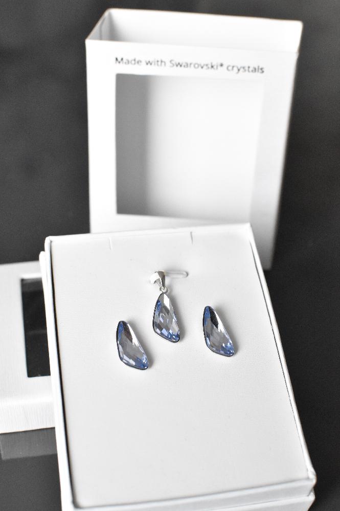 Sada šperků s krystaly Swarovski náušnice a přívěsek fialové 79039.3