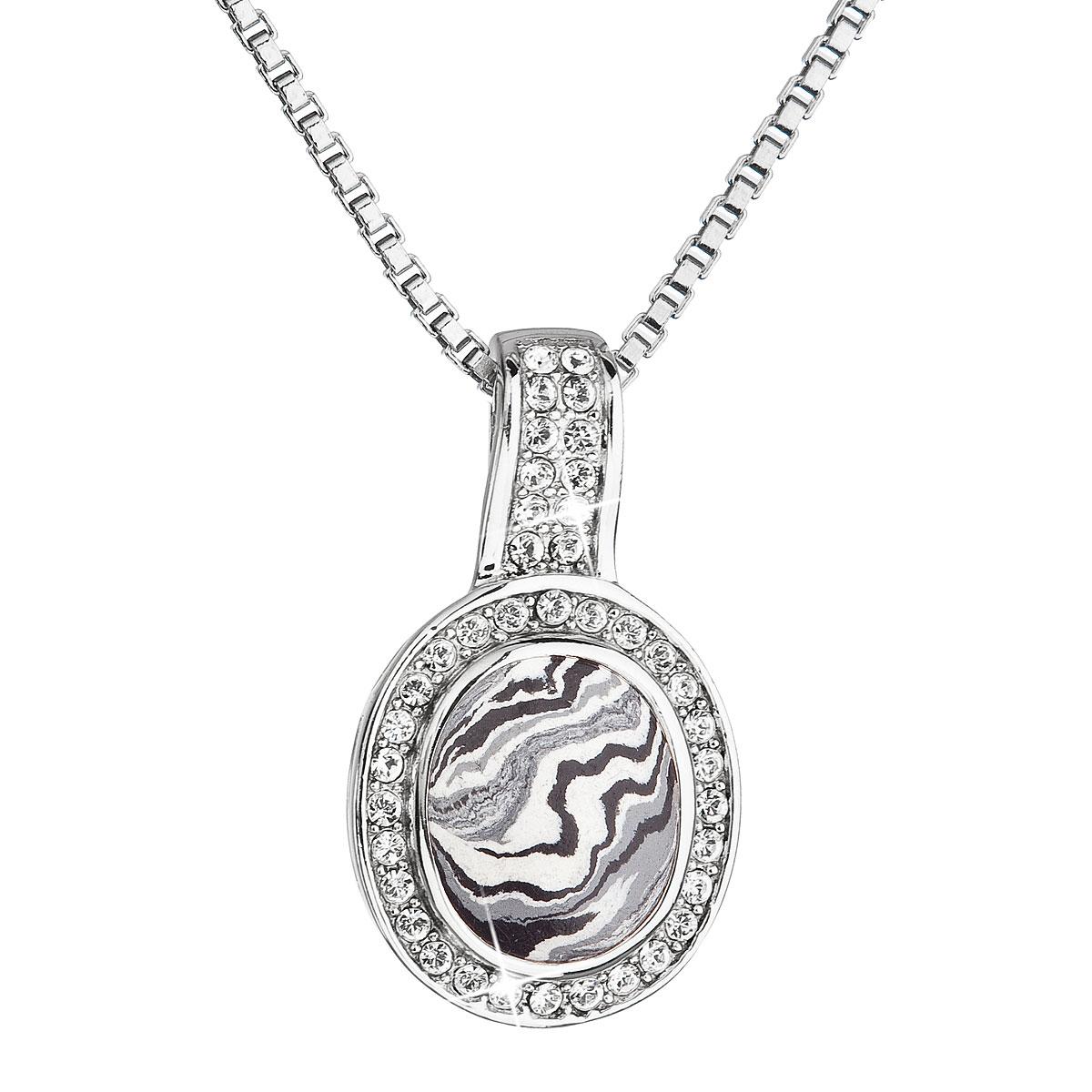 Evolution Group Stříbrný náhrdelník oválný černobílý mramor se Swarovski krystaly 72061.1