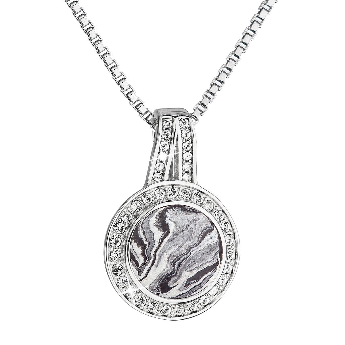 Evolution Group Stříbrný náhrdelník kulatý černobílý mramor se Swarovski krystaly 72062.1