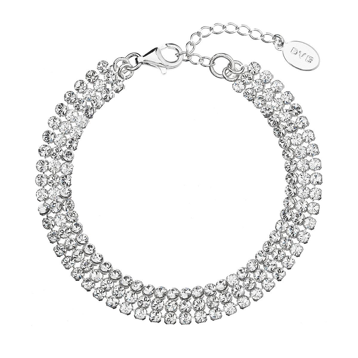 Evolution Group Stříbrný náramek bílý se Swarovski krystaly 73033.1