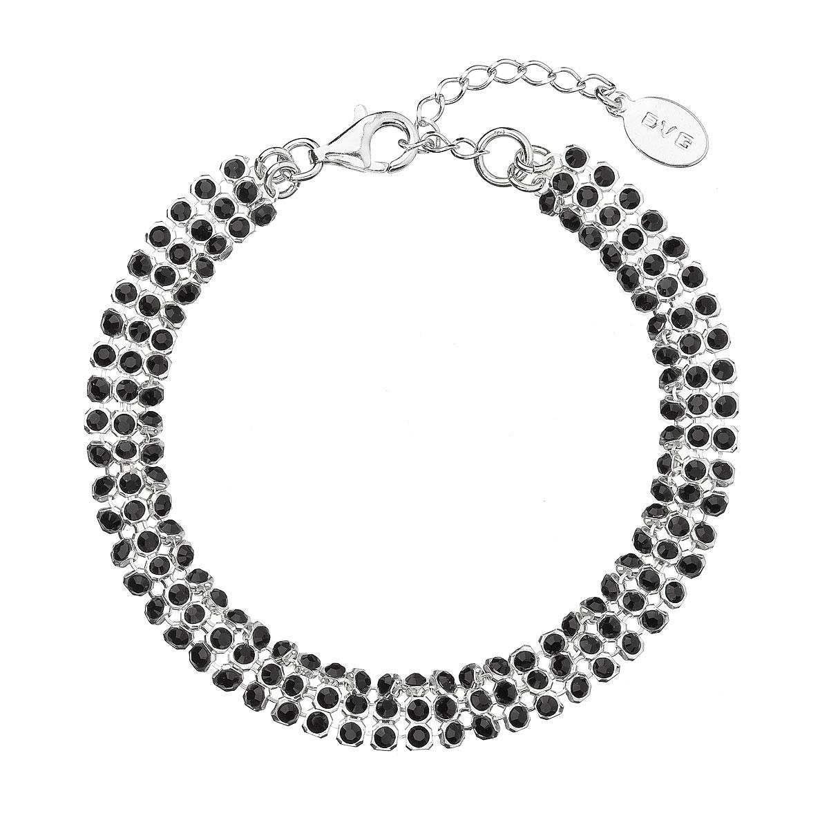 Evolution Group Stříbrný náramek černý se Swarovski krystaly 73033.5