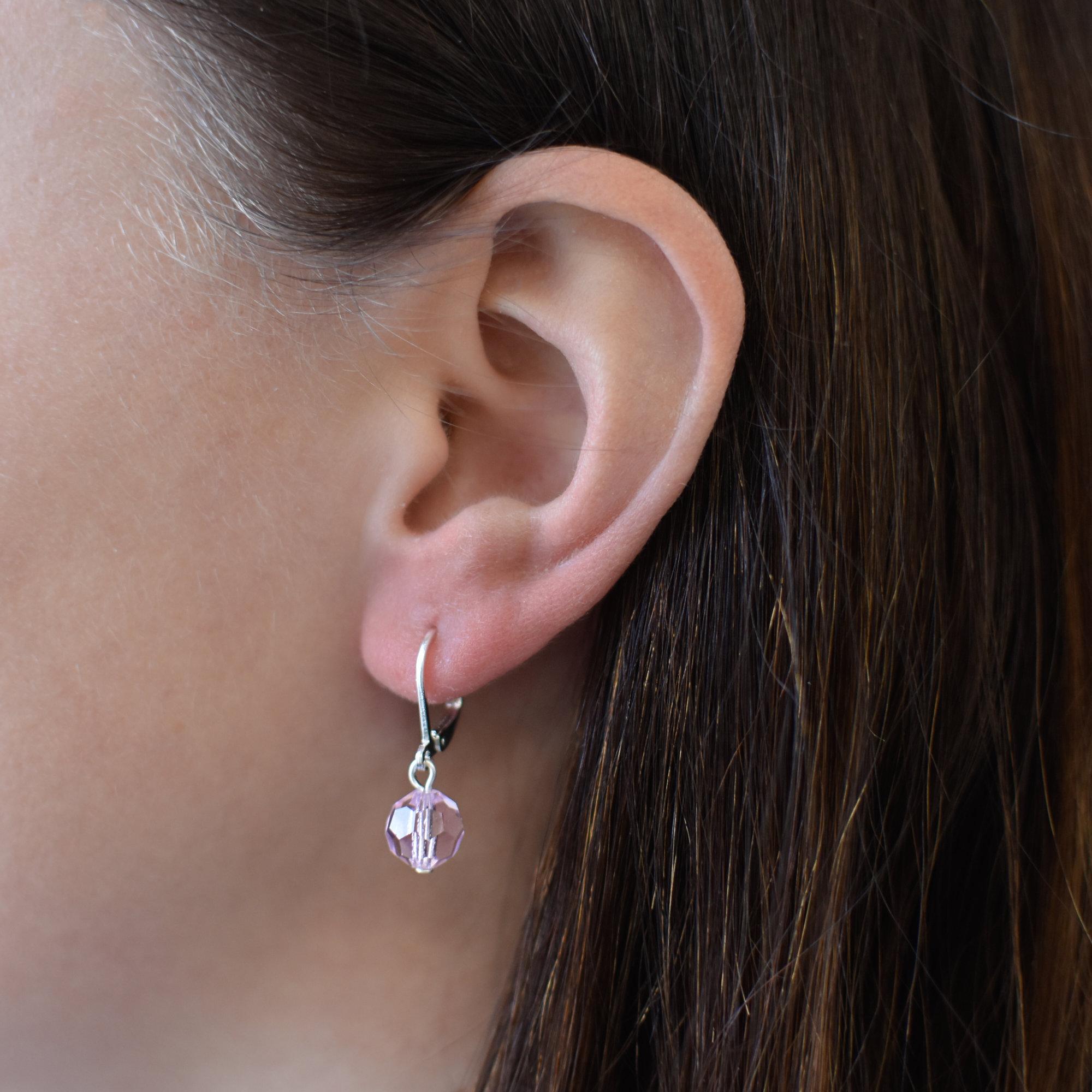 Evolution Group Visací náušnice s růžovými krystaly 71130.3