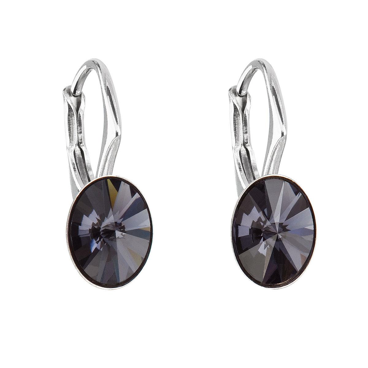 Stříbrné náušnice visací s krystaly Swarovski černý ovál 31276.3