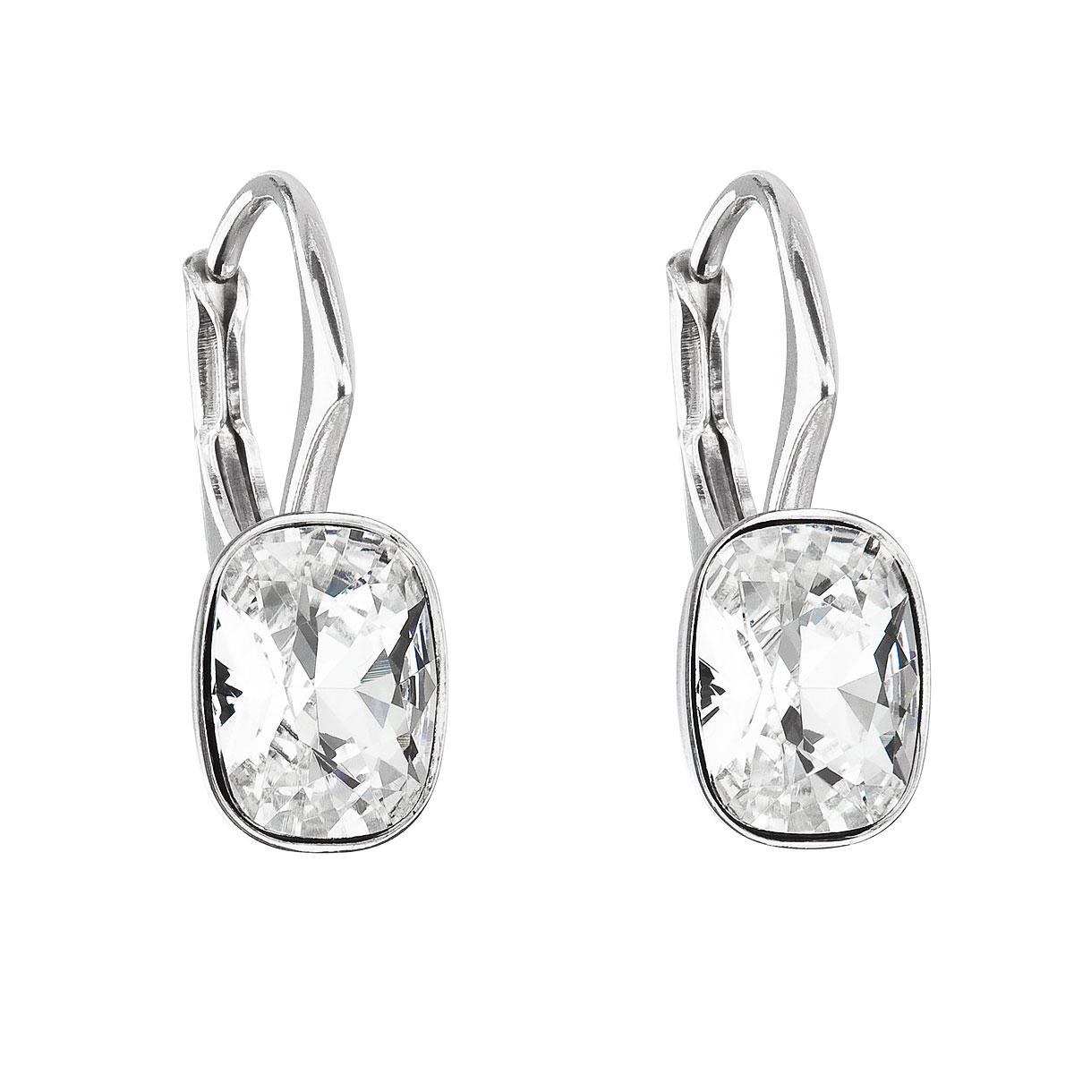 Stříbrné náušnice visací s krystaly Swarovski bílý obdélník 31278.1