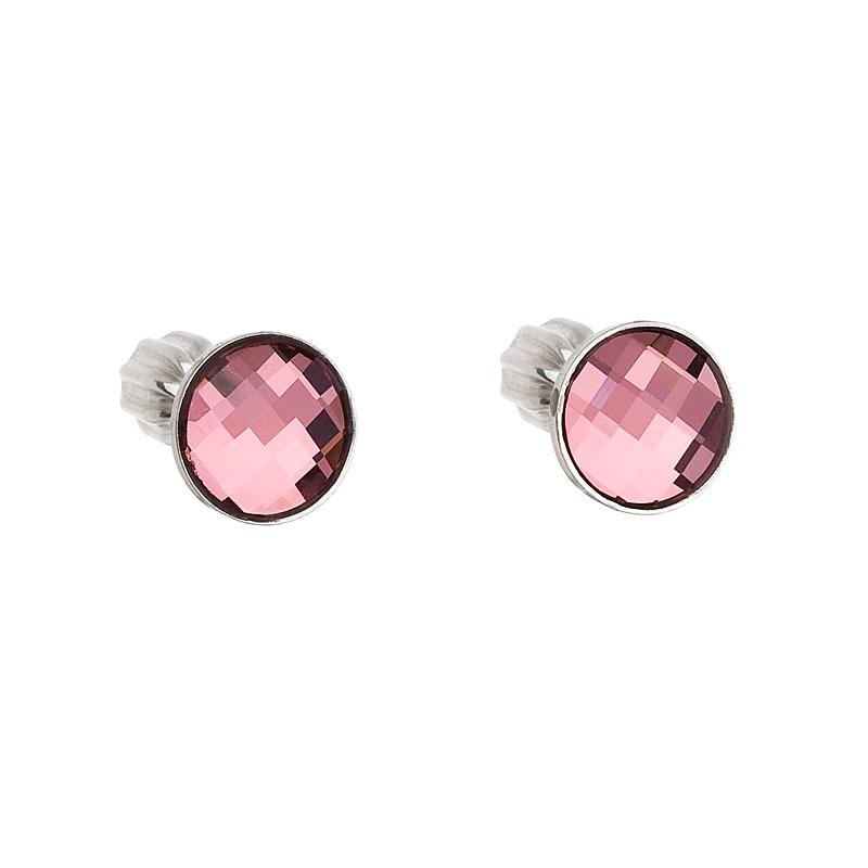 Evolution Group Stříbrné náušnice pecka s krystaly Swarovski růžové kulaté 31137.3