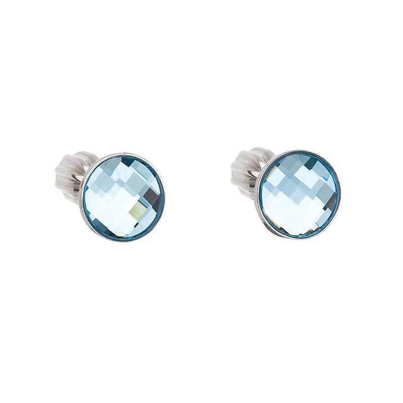 Stříbrné náušnice pecka s krystaly Swarovski modré kulaté 31137.3