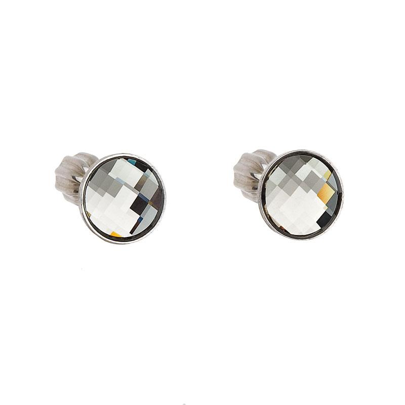 Stříbrné náušnice pecka s krystaly Swarovski šedé kulaté 31137.3