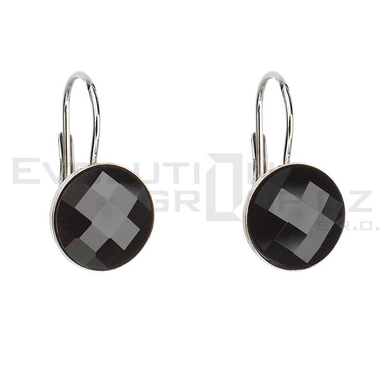 Stříbrné náušnice visací s krystaly Swarovski černé kulaté 31138.3