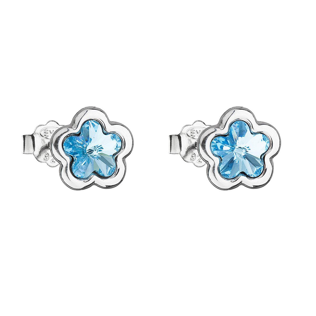 Stříbrné náušnice pecka s krystaly Swarovski modrá kytička 31255.3
