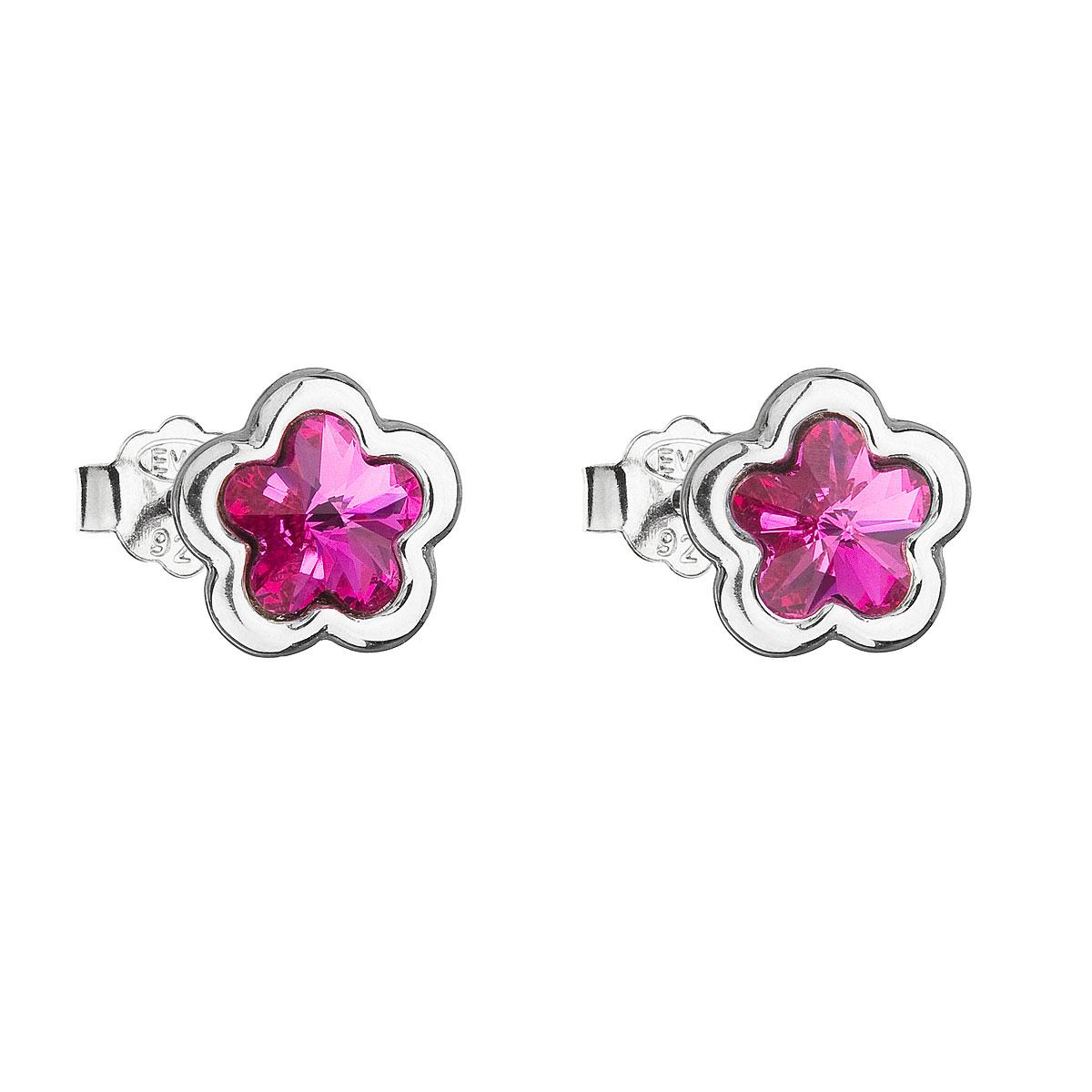 Stříbrné náušnice pecka s krystaly Swarovski růžová kytička 31255.3 fuchsia