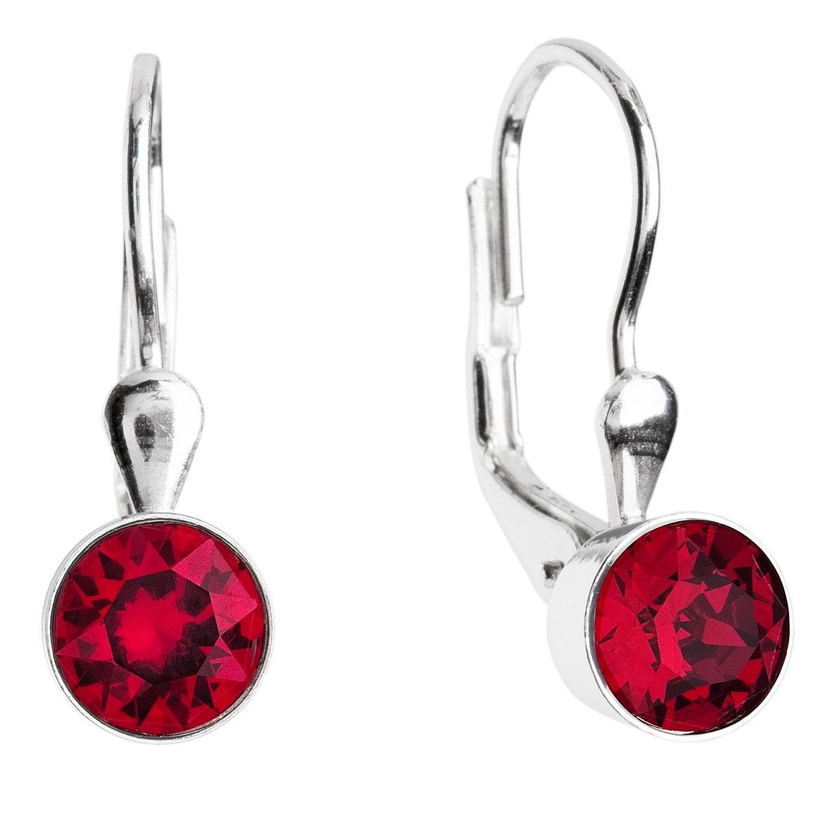 Evolution Group Stříbrné náušnice visací s krystaly červené kulaté 31112.3 ruby