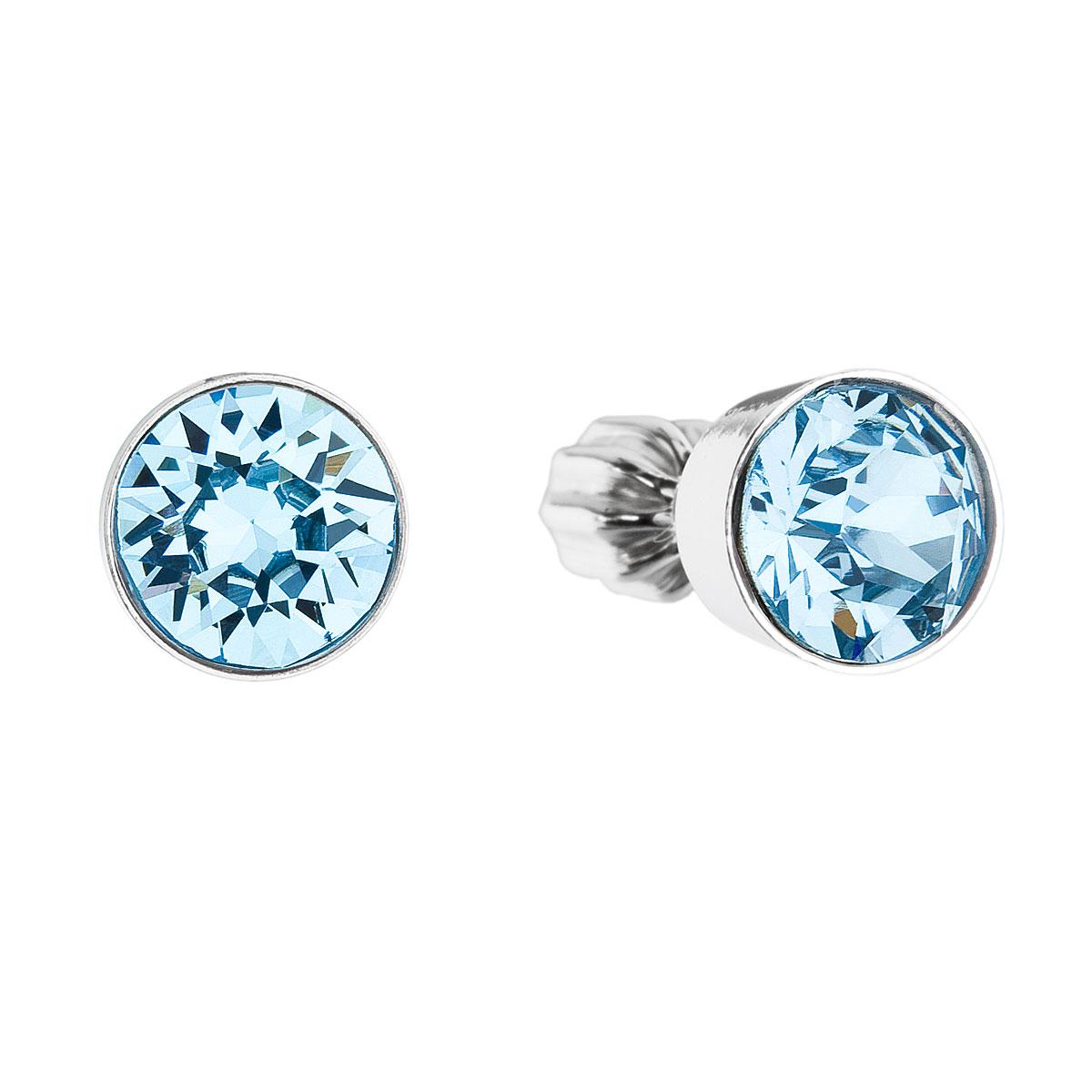 Evolution Group Stříbrné náušnice pecka s krystaly modré kulaté 31113.3 aqua