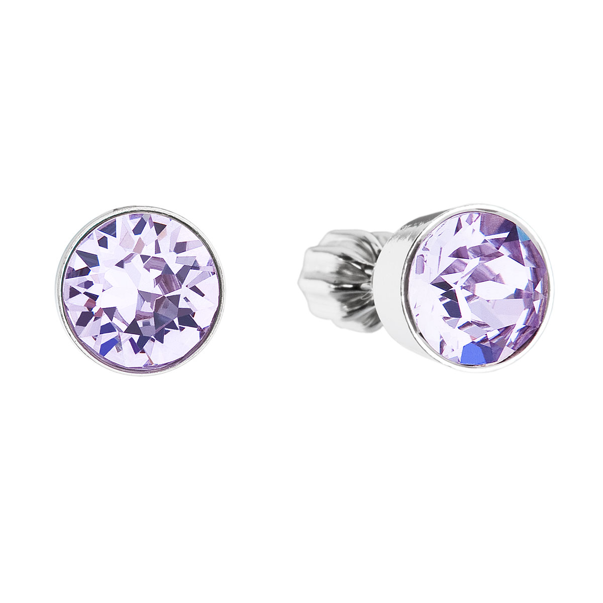 Stříbrné náušnice pecka s krystaly fialové kulaté 31113.3 violet