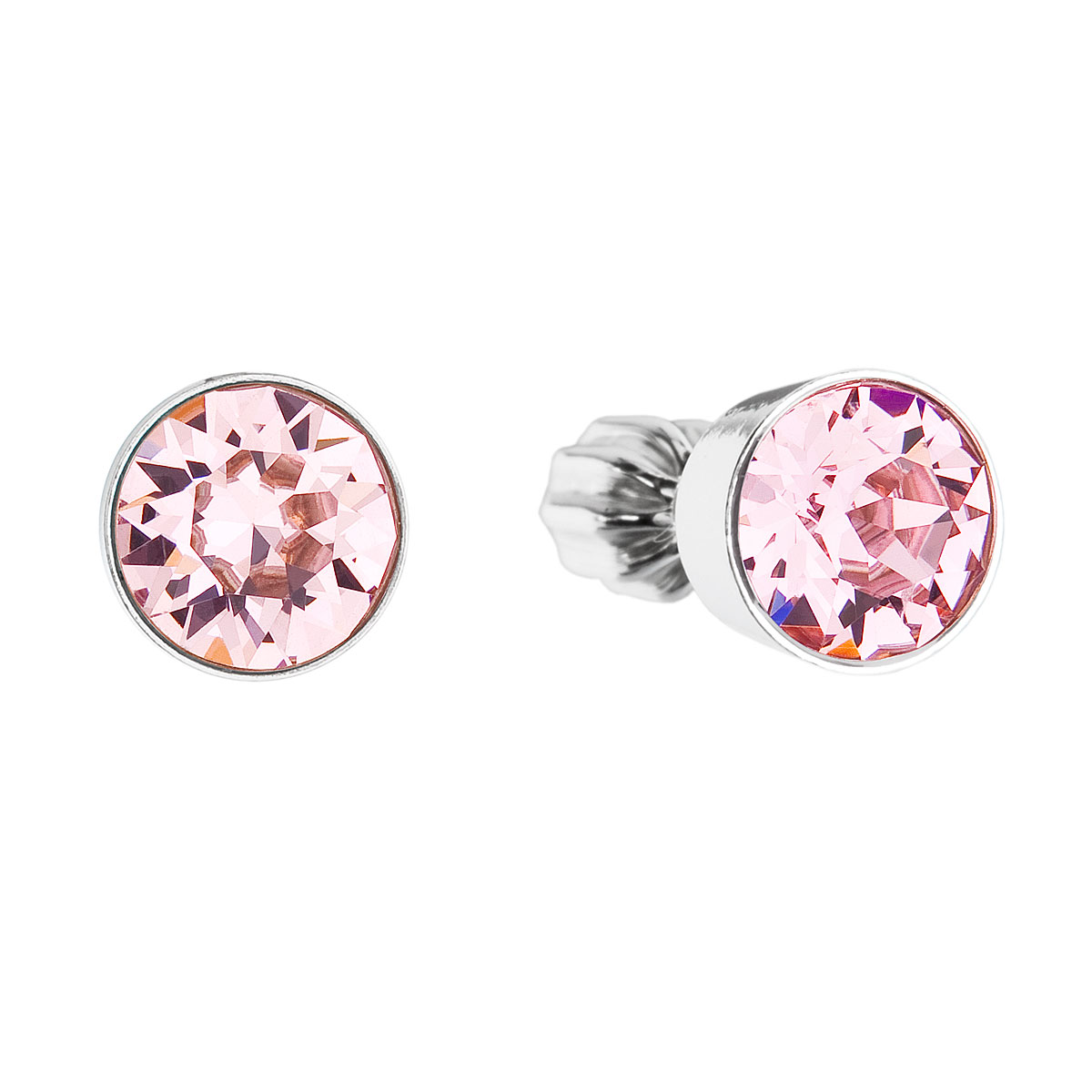 Stříbrné náušnice pecka s krystaly růžové kulaté 31113.3 light rose