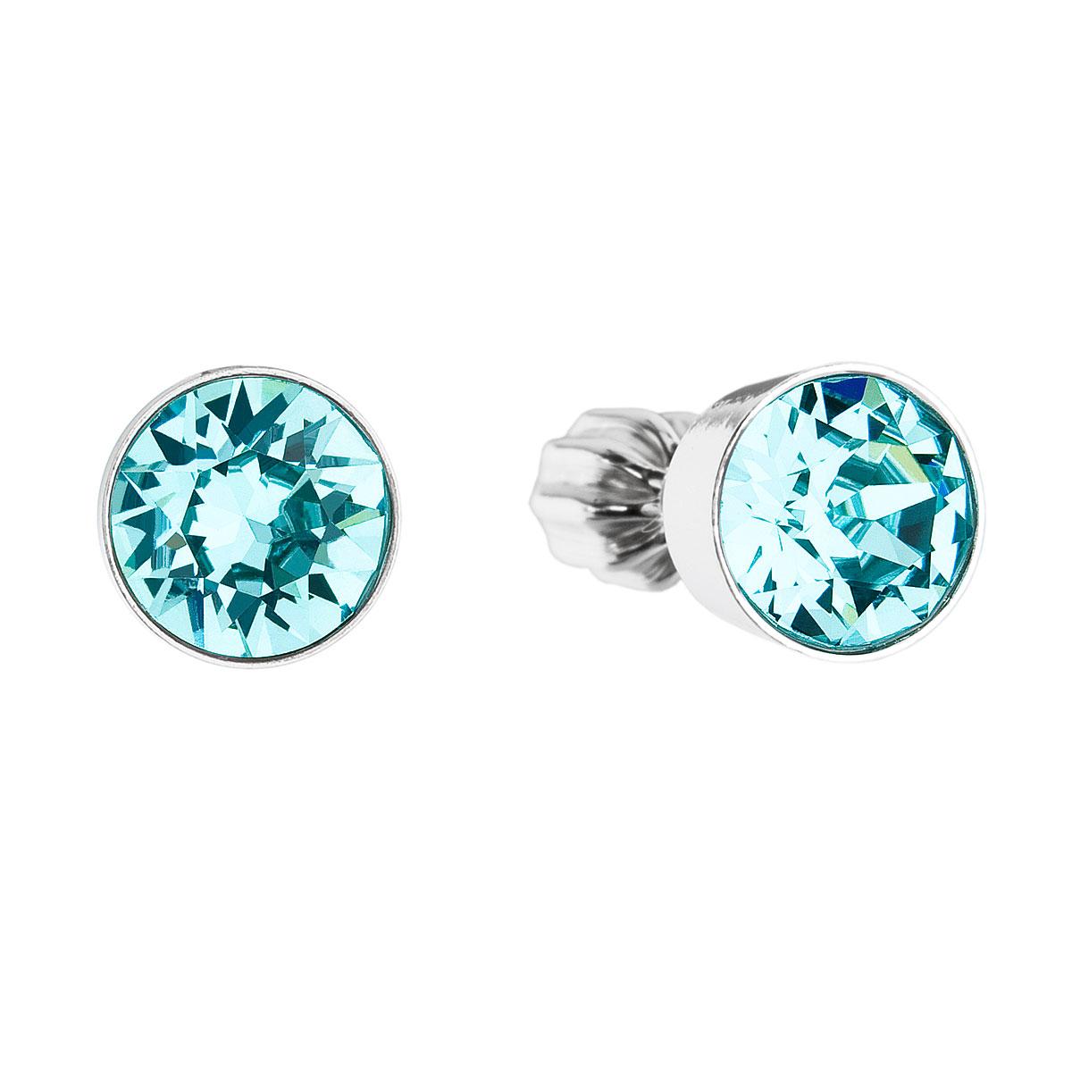Stříbrné náušnice pecka s krystaly modré kulaté 31113.3 light turquoise