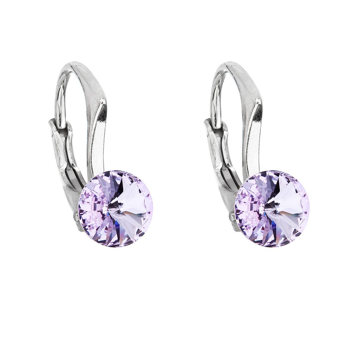 Stříbrné náušnice visací s krystaly Swarovski fialové kulaté 31230.3 violet
