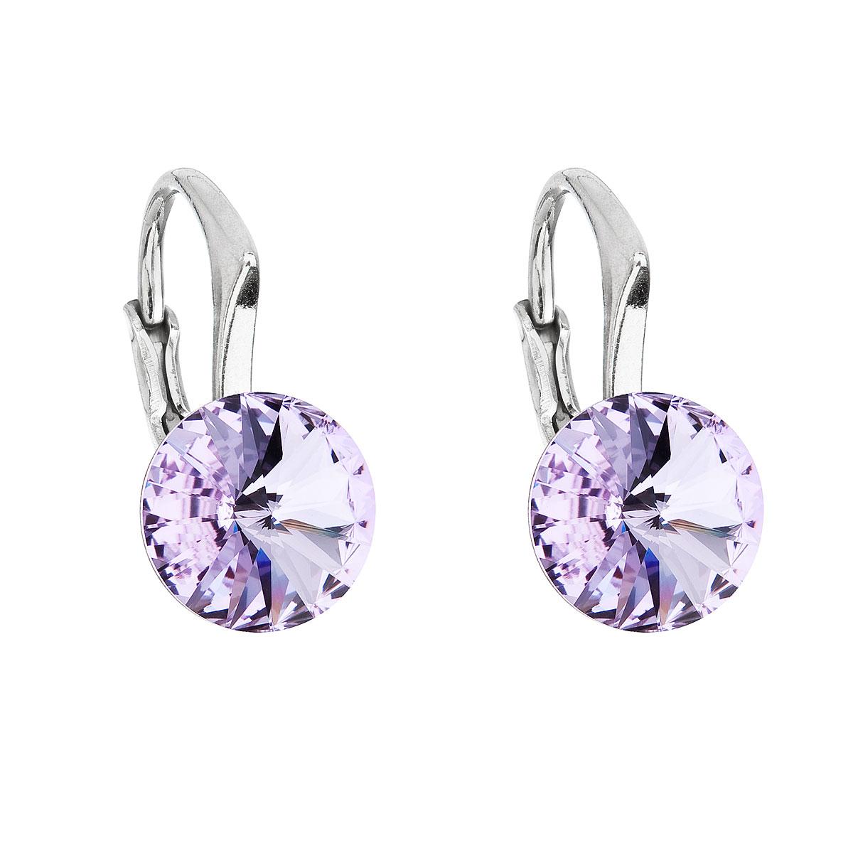 Evolution Group Stříbrné náušnice visací s krystaly Swarovski fialové kulaté 31229.3 violet