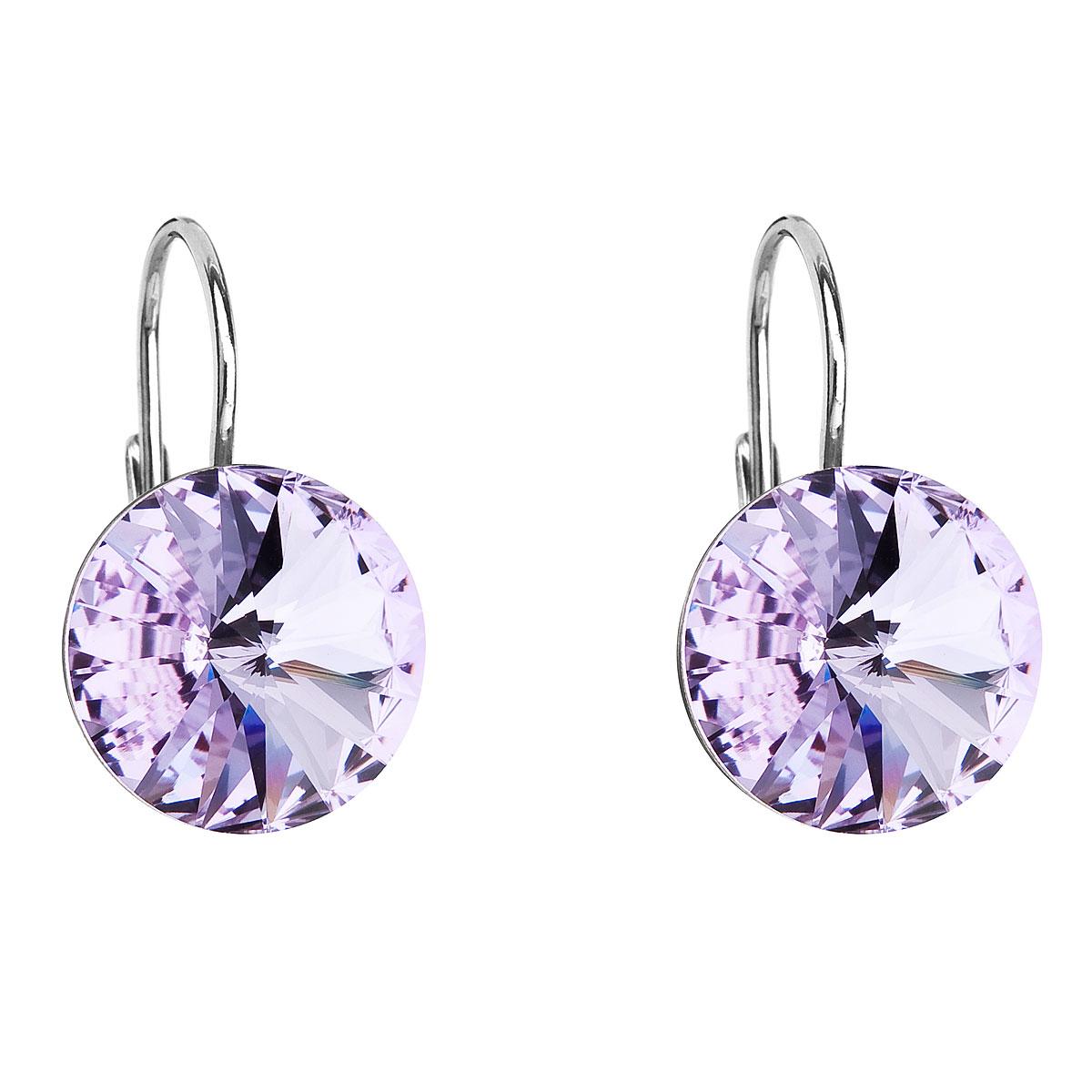 Evolution Group Stříbrné náušnice visací s krystaly Swarovski fialové kulaté 31106.3 violet