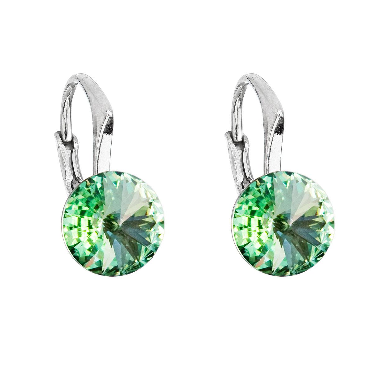 Evolution Group Stříbrné náušnice visací s krystaly Swarovski zelené kulaté 31229.3 chrysolite