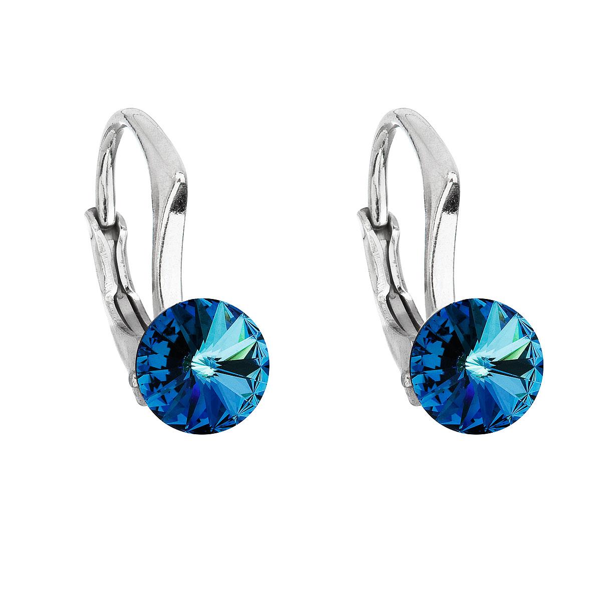 Evolution Group Stříbrné náušnice visací s krystaly Swarovski modré kulaté 31230.5 bermuda blue