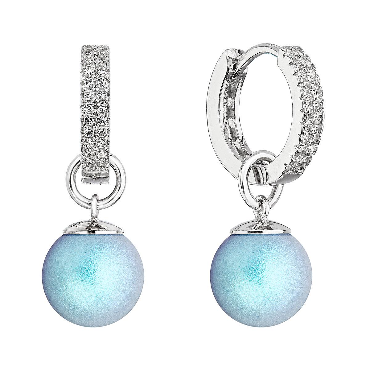 Evolution Group Stříbrné visací náušnice kroužky se světle modrou perlou 31298.3