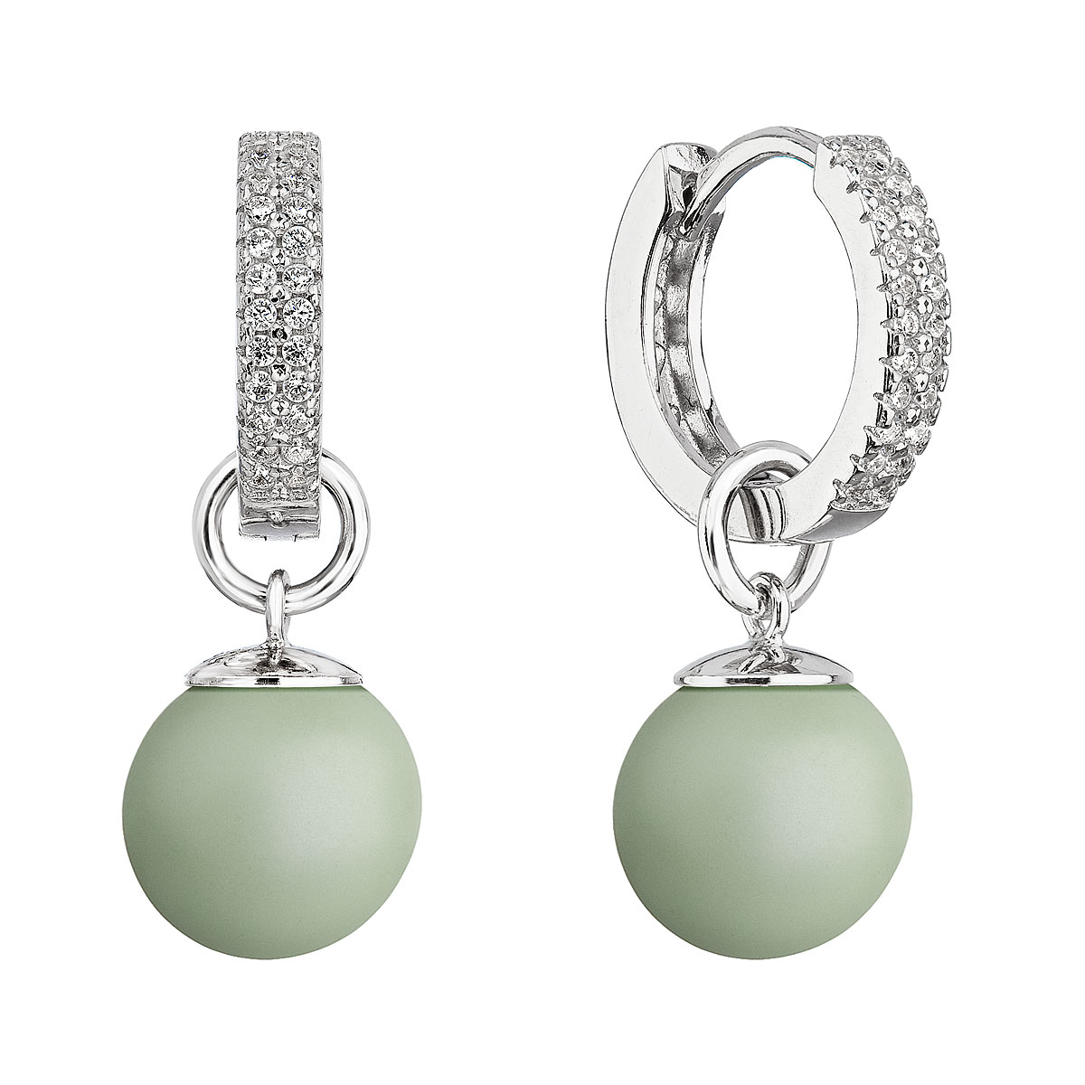 Evolution Group Stříbrné visací náušnice kroužky s pastelově zelenou perlou 31298.3