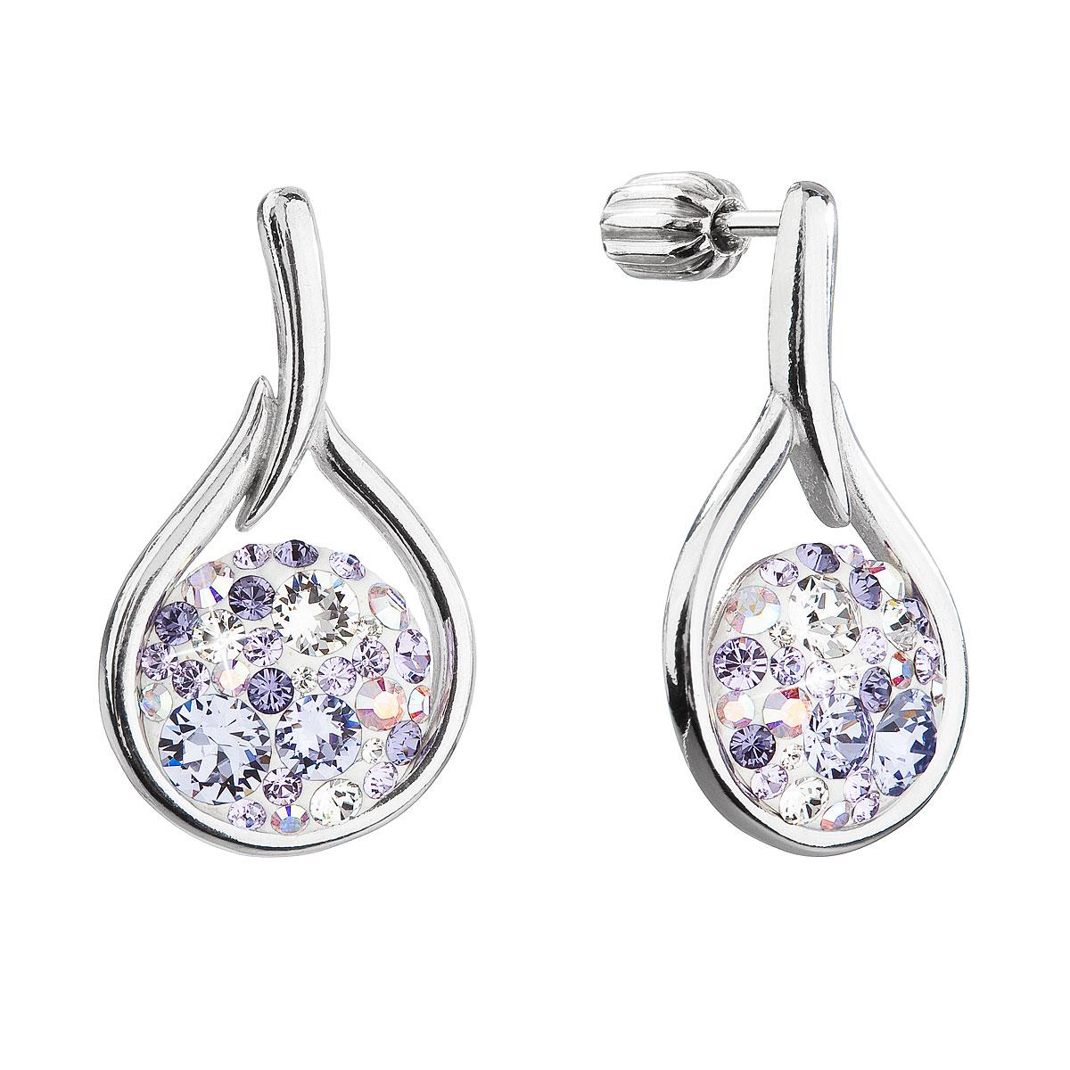 Evolution Group Stříbrné visací náušnice kapky se Swarovski krystaly 31305.3 violet