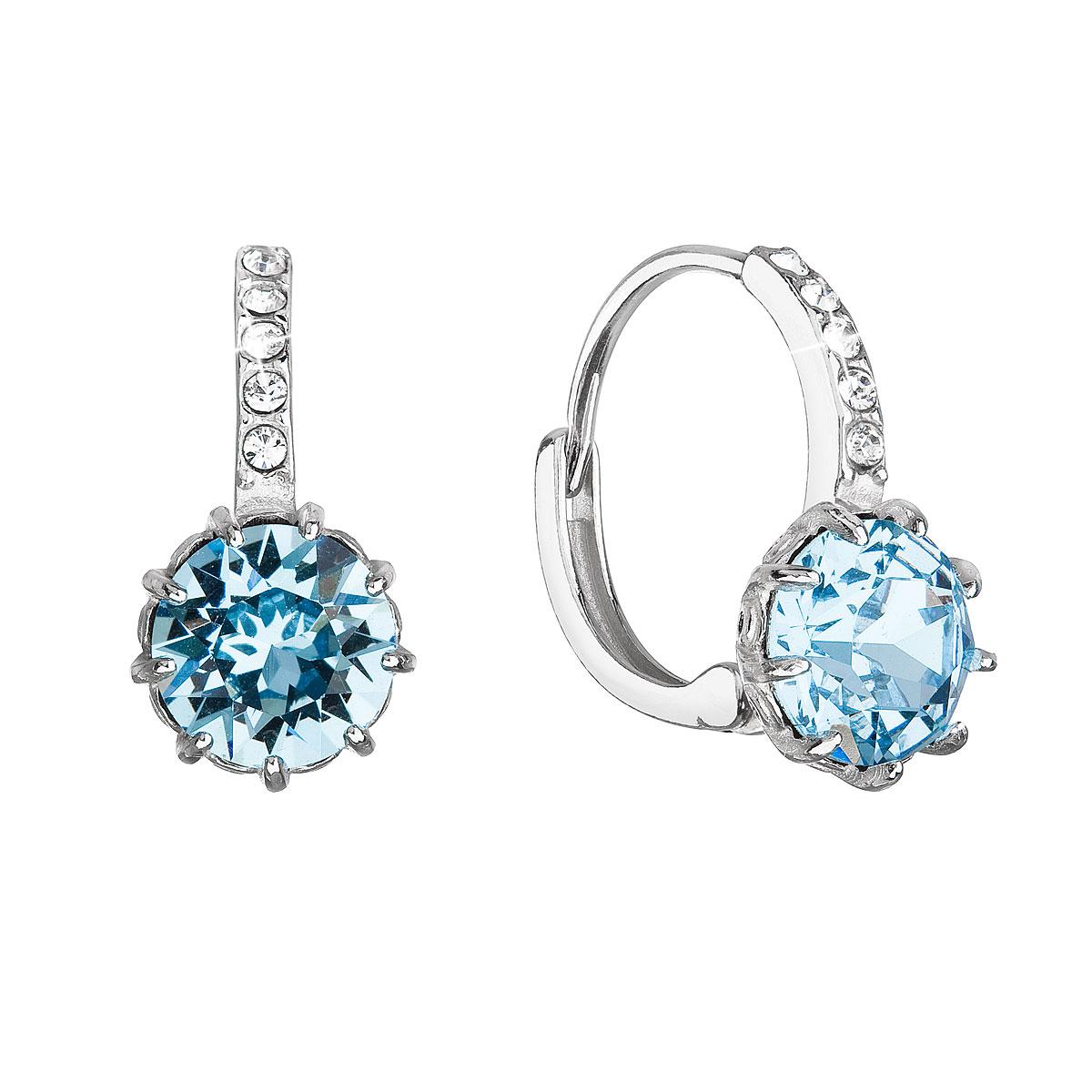 Evolution Group Stříbrné náušnice visací se Swarovski krystalem kulaté modré 31302.3