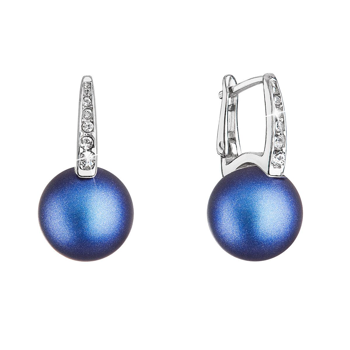 Evolution Group Stříbrné náušnice visací se Swarovski perlou a krystaly 31301.3 tmavě modré