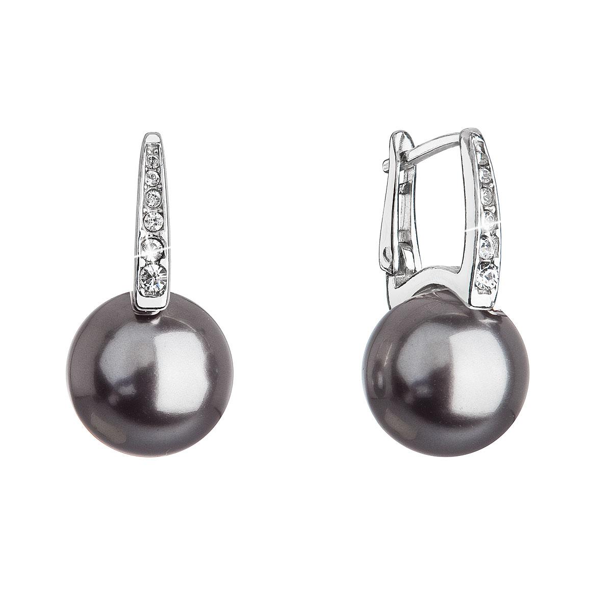 Evolution Group Stříbrné náušnice visací se Swarovski perlou a krystaly 31301.3 šedé