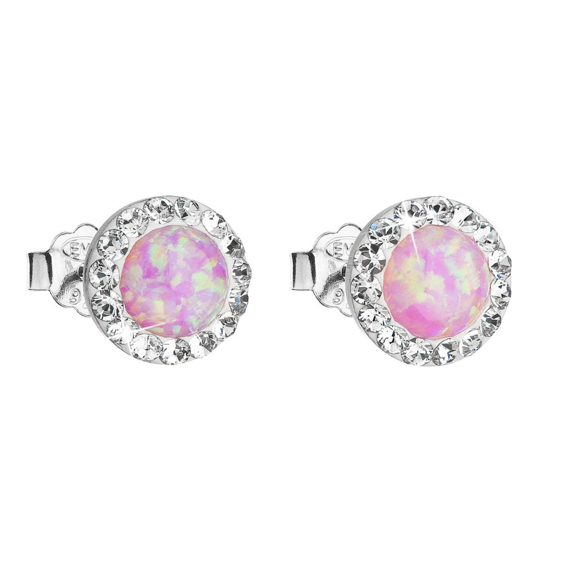 Evolution Group Stříbrné náušnice pecky se syntetickým opálem a Preciosa krystaly růžové kulaté 31217.1