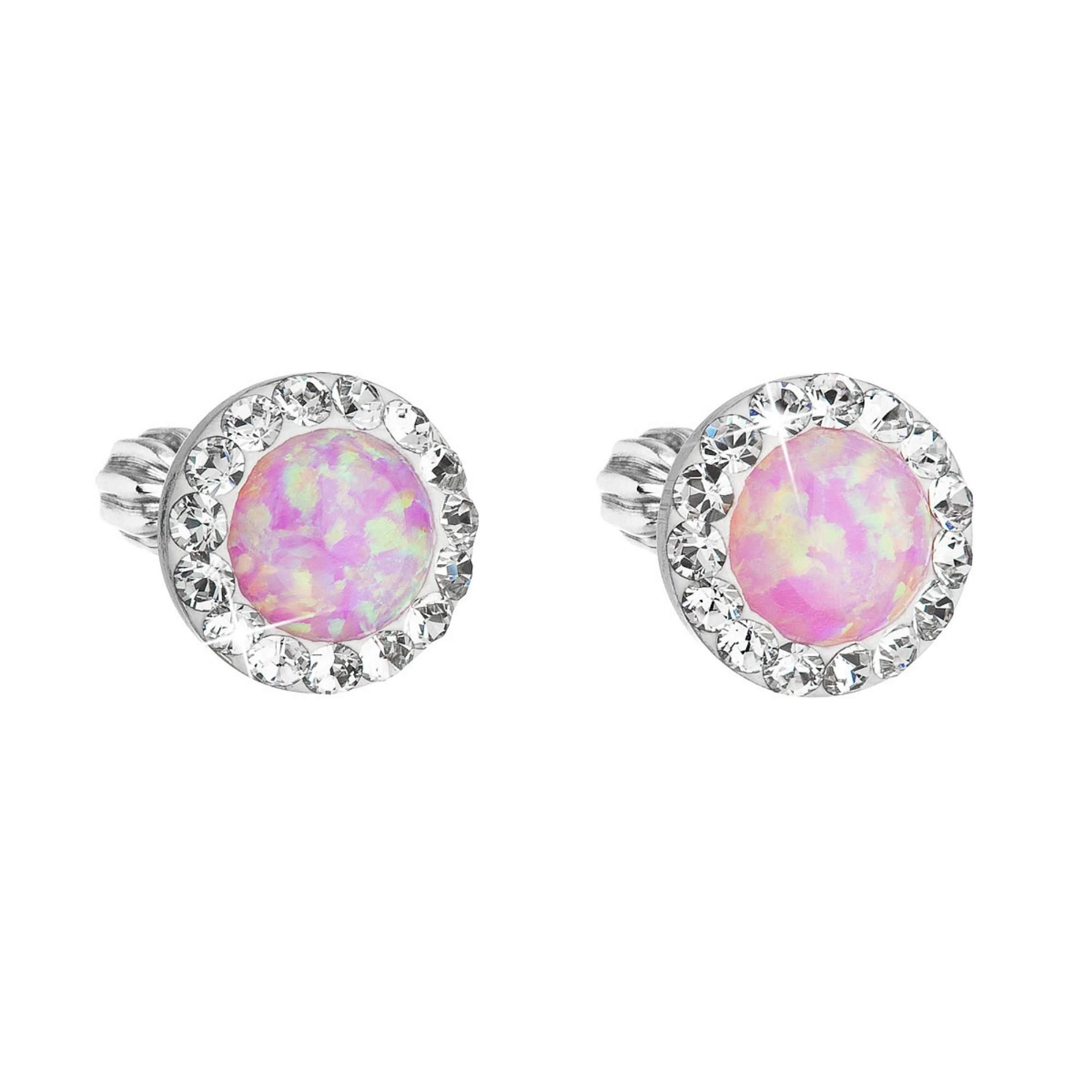 Evolution Group Stříbrné náušnice pecky se syntetickým opálem a Preciosa krystaly růžové kulaté 31317.1