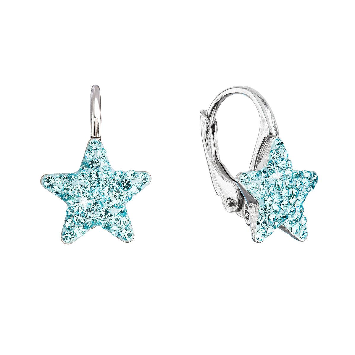 Evolution Group Stříbrné náušnice visací s Preciosa krystaly modré hvězdičky 31311.3 aqua