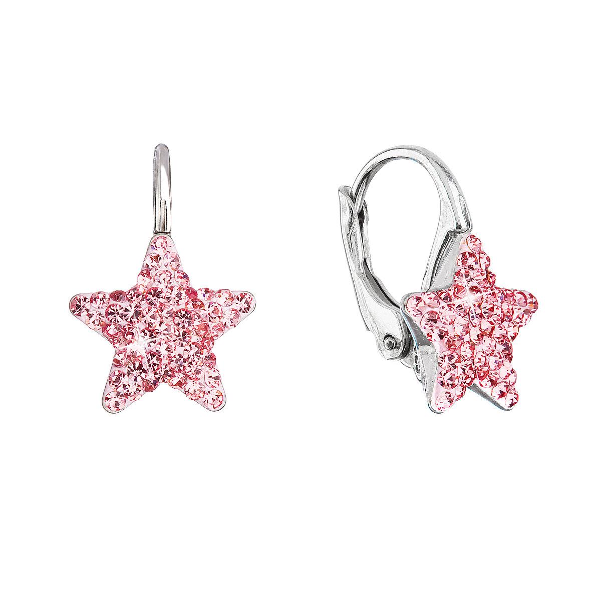 Evolution Group Stříbrné náušnice visací s Preciosa krystaly růžové hvězdičky 31311.3 lt.rose
