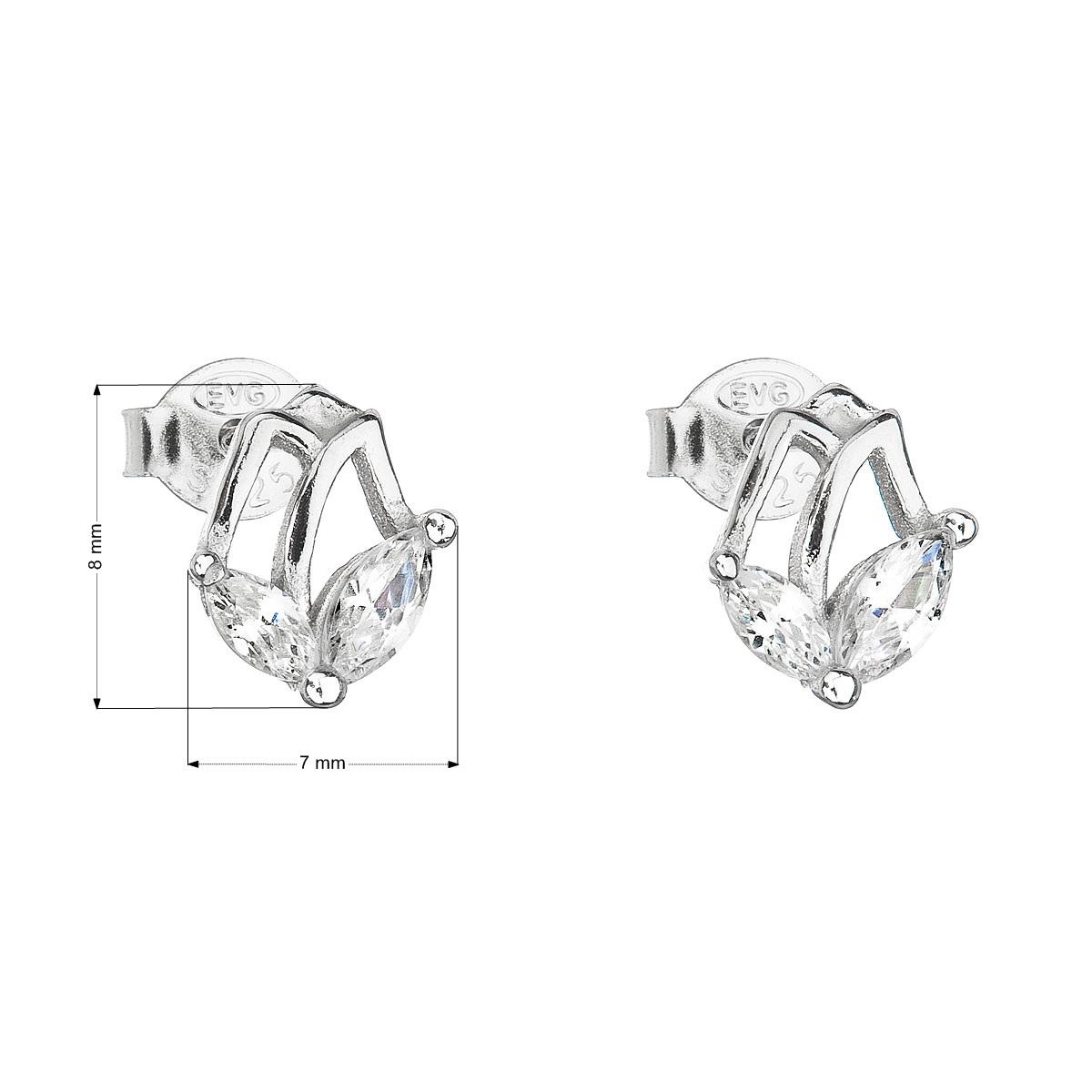 Evolution Group Stříbrné náušnice pecka se zirkonem bílá kytička 11030.1