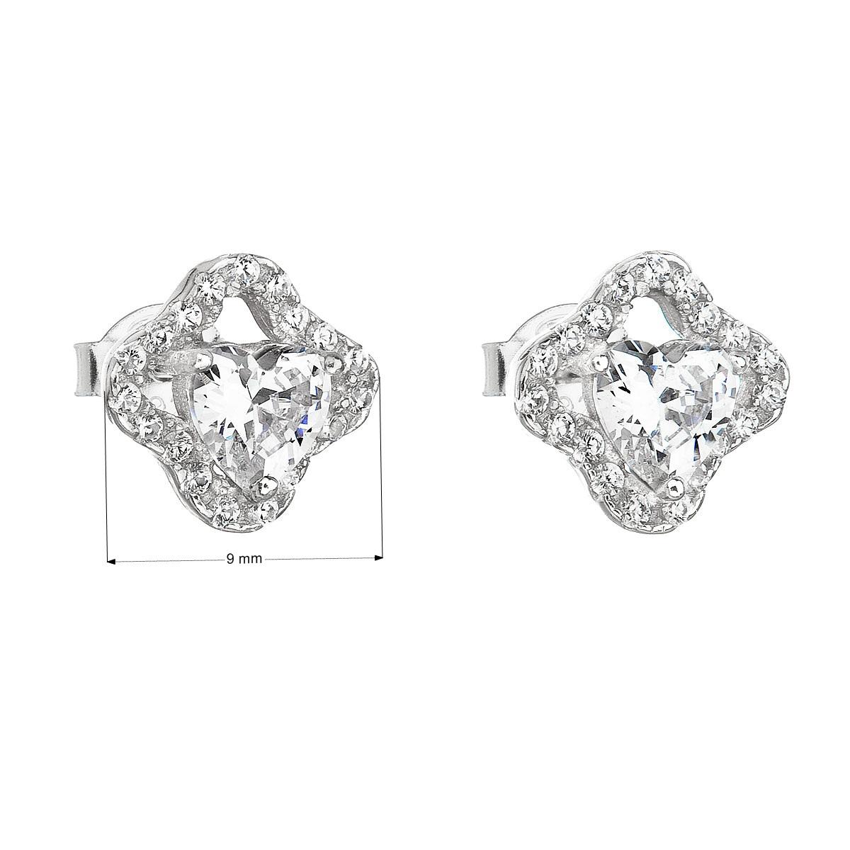 Evolution Group Stříbrné náušnice pecka se zirkonem bílé srdce 11065.1
