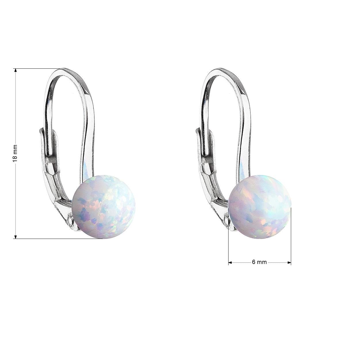 Evolution Group Stříbrné visací náušnice se syntetickým opálem bílé kulaté 11242.1