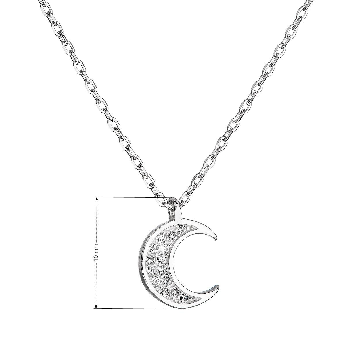 Evolution Group Stříbrný náhrdelník se zirkony bílý půlměsíc malý 12046.1