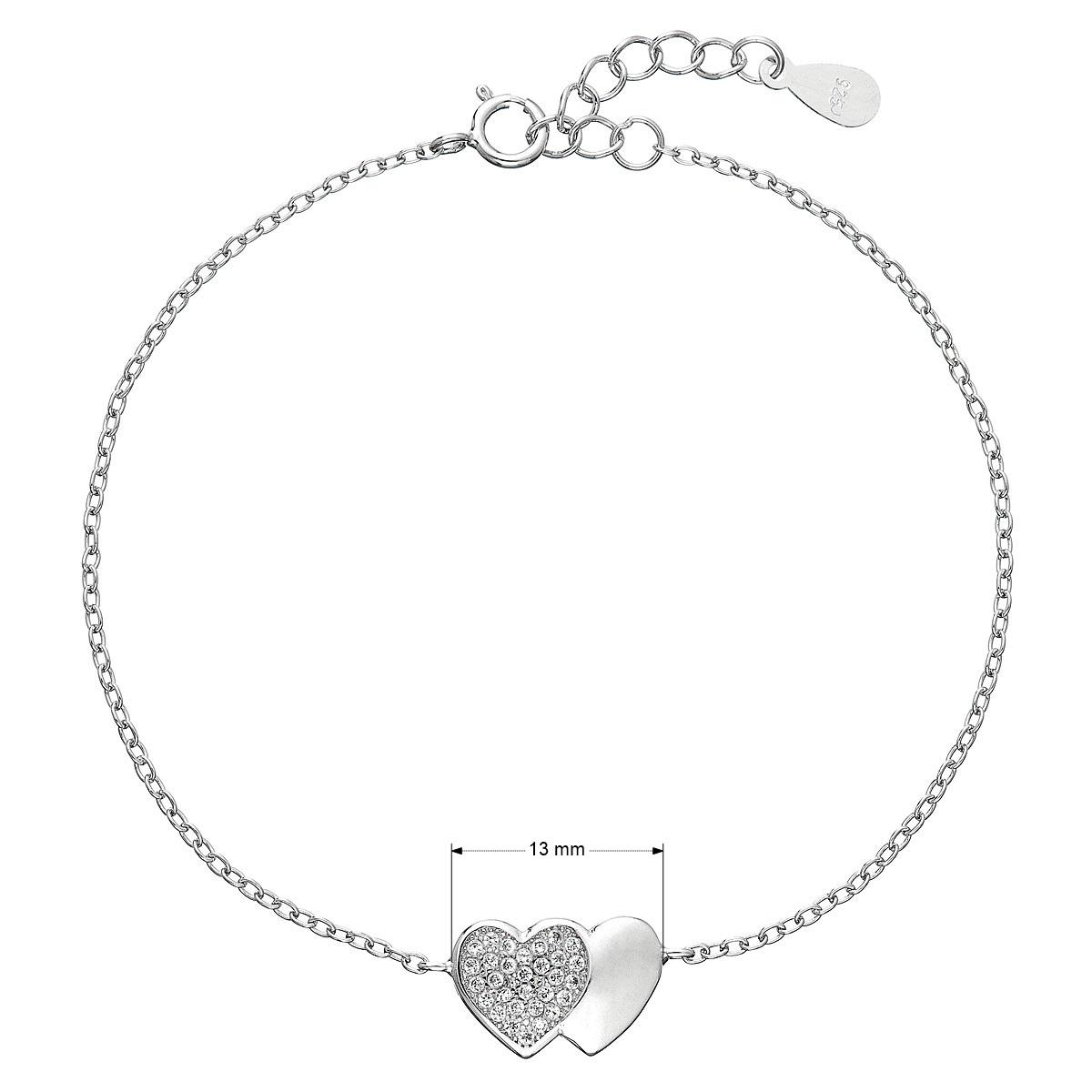 Evolution Group Stříbrný náramek se zirkony srdce 13010.1