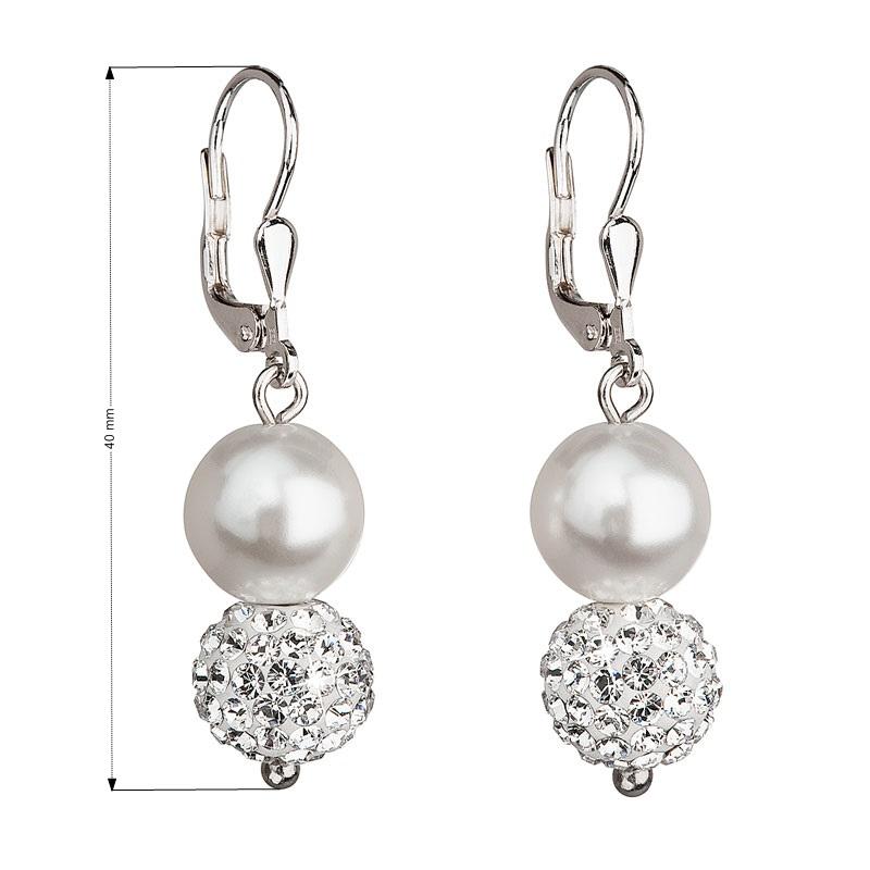 Evolution Group Stříbrné náušnice visací s krystaly Swarovski bílé kulaté 31155.1