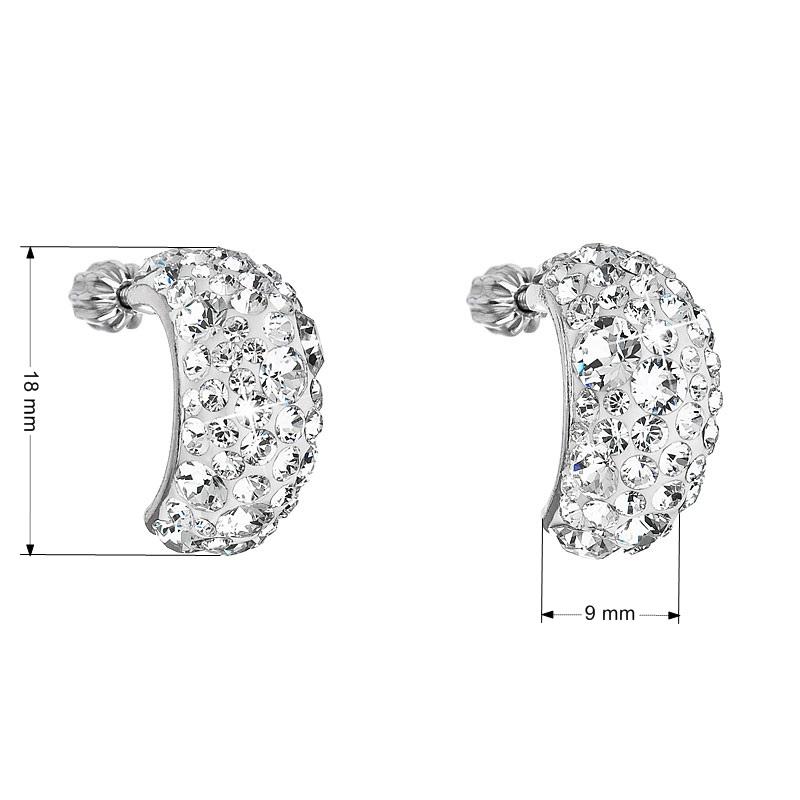 Evolution Group Stříbrné náušnice visací s krystaly Swarovski bílý půlkruh 31164.1