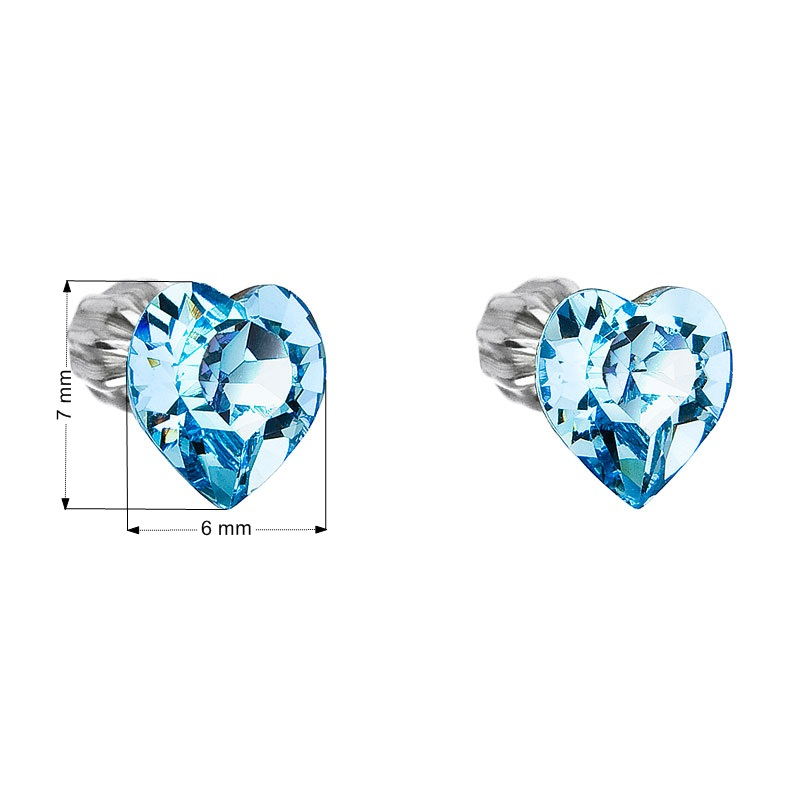 Evolution Group Stříbrné náušnice pecka s krystaly Swarovski modré srdce 31139.3