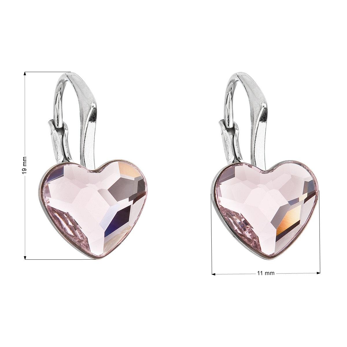 Evolution Group Stříbrné náušnice visací s krystaly Swarovski růžové srdce 31240.3