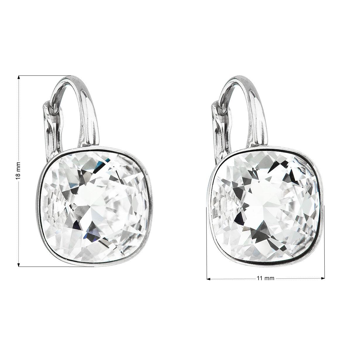 Evolution Group Stříbrné náušnice visací s krystaly Swarovski bílý čtverec 31241.1