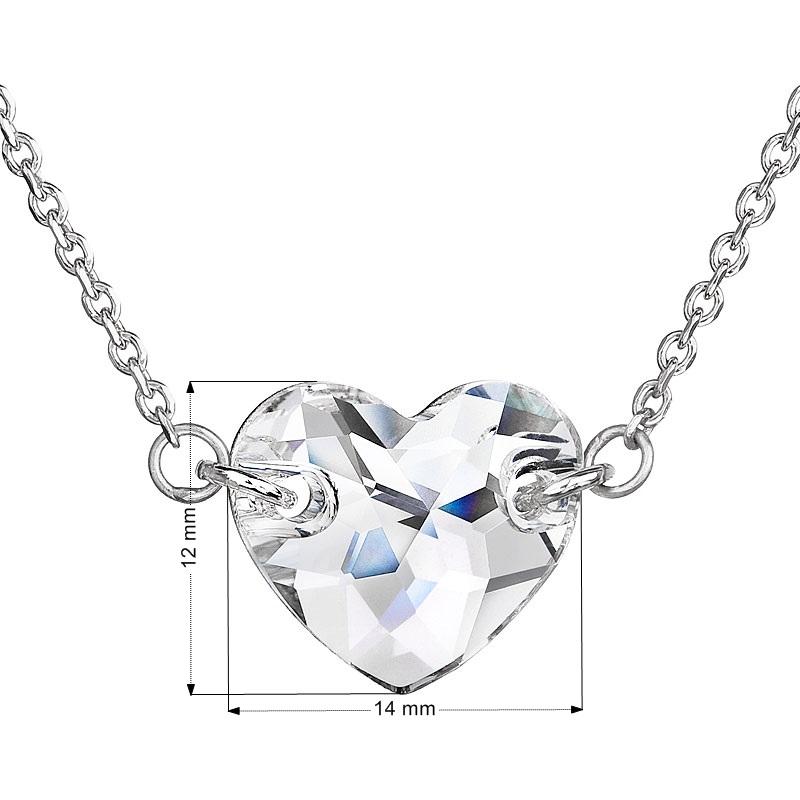 Evolution Group Stříbrný náhrdelník s krystaly Swarovski bílé srdce 32020.1