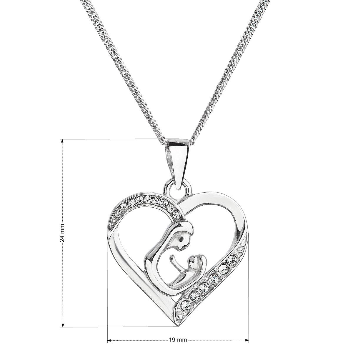 Evolution Group Stříbrný náhrdelník matka a dítě se Swarovski krystaly bílý 32073.1