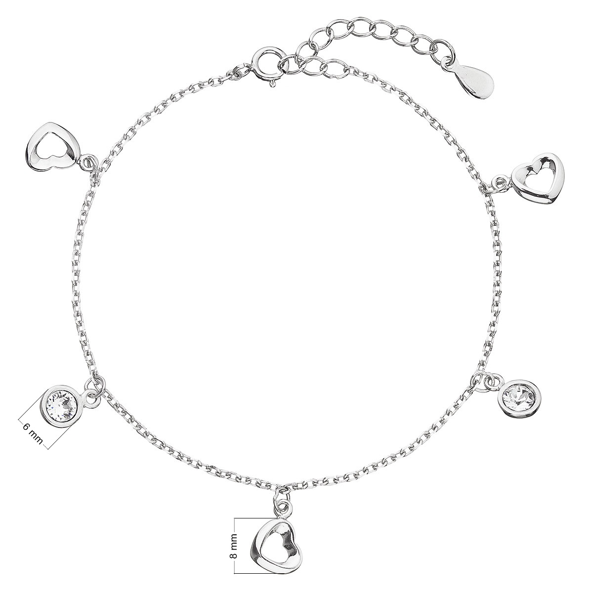 Evolution Group Stříbrný náramek se Swarovski krystaly bílé srdce 33110.1